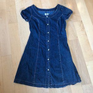 Vintage Calvin Klein Pearl Snap Denim Dress